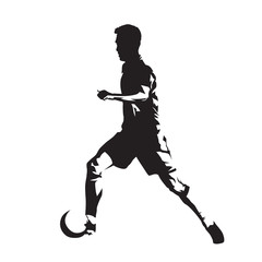 Soccer player running with ball, isolated vector silhouette, side view footballer