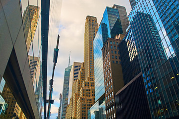 Downtown Manhattan in New York City with breathtaking skyscrapers