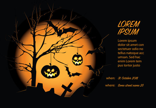 Black and Orange Halloween Card Layout
