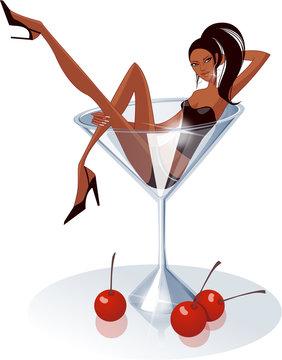 Woman in a martini glass