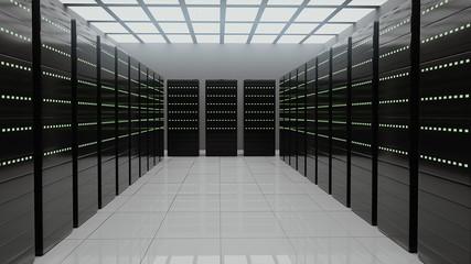 Fototapeta Server room data exchanging cyber digital connections 3D render