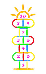 Hopscotch game brushes strokes with illustration by child. Children street game. Vector EPS 10