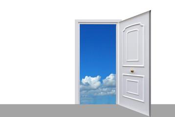 Puerta al cielo. Fondo blanco para escribir texto.