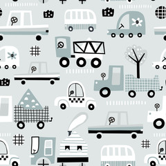 Baby seamless pattern with cute car. Perfect for kids fabric, textile, nursery wallpaper. Vector Illustration.