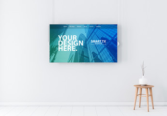 Smart TV Hanging in White Room Mockup