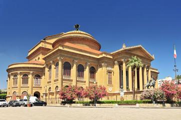 Teatro Massimo famous opera house on the Piazza Verdi in Palermo Sicily, Italy.