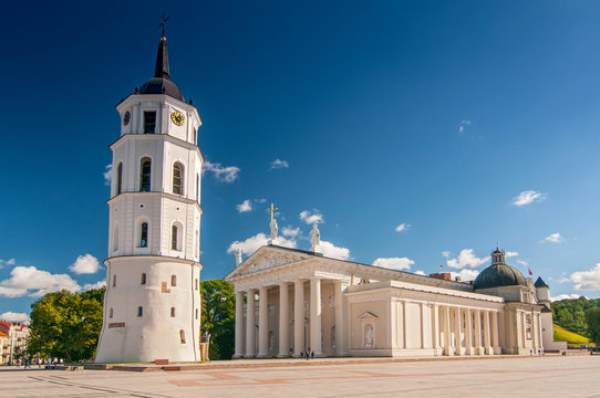 Cathedral Basilica Of St. Stanislaus And St. Vladislav With The Bell Tower In Summer Sunny Day, Vilnius, Lithuania.