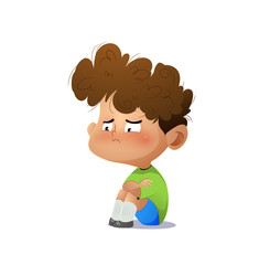 Cartoon sad boy.
