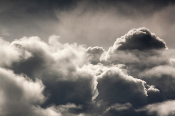 Storm clouds in the sky. Black and white Beautiful and inspiring cloud background