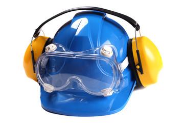 Fototapeta Ochrona głowy wzroku i słuchu zawierająca niebieski hełm ochronny ochronniki słuchu i gogle przeciwodpryskowe obraz