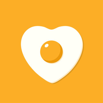 Fried egg in the shape of heart. Vector illustration in cartoon flat style