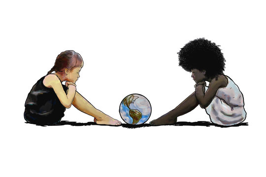 Racial prejudice. A digital illustration with a Caucasian child sitting in front of a black child looking at a globe. Concept of racial prejudice and discrimination.