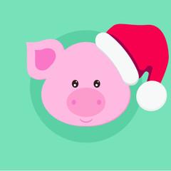 Funny vector pig illustration