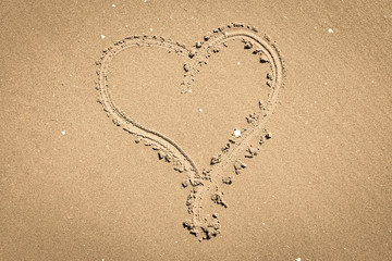 Heart sign on the sand
