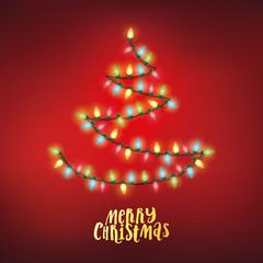 Vector fairy lights shaped into a Christmas tree shape.