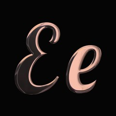 Design font with 3D rendering and metallic rose gold texture isolated on black background, initial and lowercase letter E for invitation, poster, greeting card