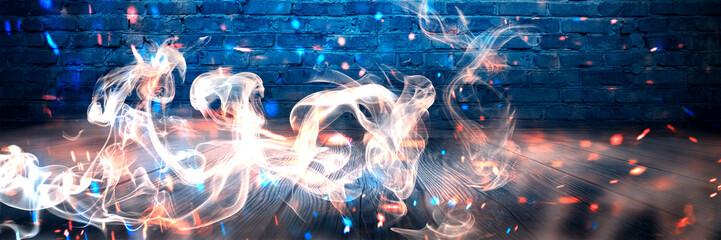 Empty brick wall background, night view, neon light, rays. Celebratory background. smoke
