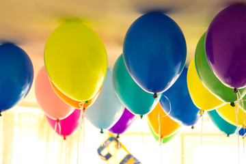 Balloons and colorful balloons with happy celebration party background
