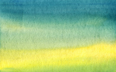 Watercolor textured blue, green and yellow background