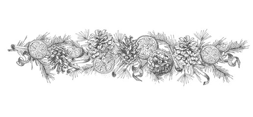 Christmas garland Realistic Botanical ink sketch of fir tree branches with pine cone isolated on white background. Good idea for design templates invitations, greeting cards. Vector illustrations