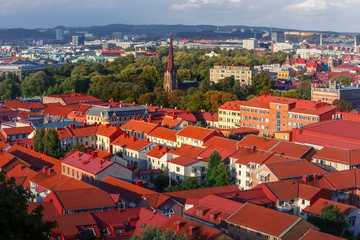 Scenic aerial view of the Old Town with Haga Church and red roofs at sunset, Gothenburg, Sweden.