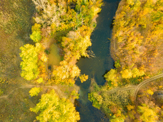 aerial panorama landscape of nature forest with river on sunset f