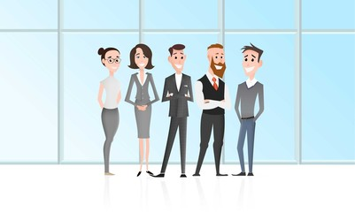 Cartoon office workers team character at front of the skyscrapper window. Business landing page