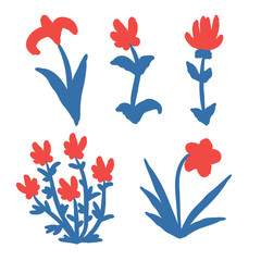 Set of hand drawn red flowers isolated on white background. Vector illustration.