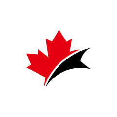 red,black, canada maple leaf icon image vector logo inspiration