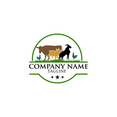 vintage Vector group of animal farm label., Cow,pig,chicken,goat. Logo Animal.