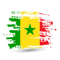Grunge brush stroke with Senegal national flag