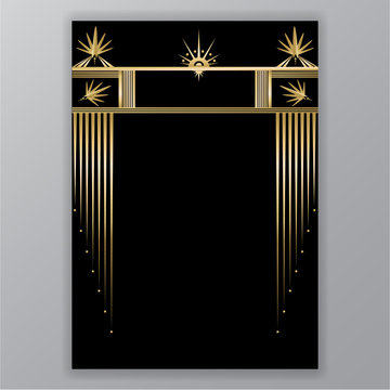Elegant Art Deco page design , menu decoration  for print and web. Golden black lines frame retro motive geometric background.