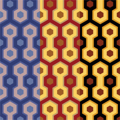 Elegant retro art deco/art nuvo seamless set of patterns in three wonderfull colors for print and web .