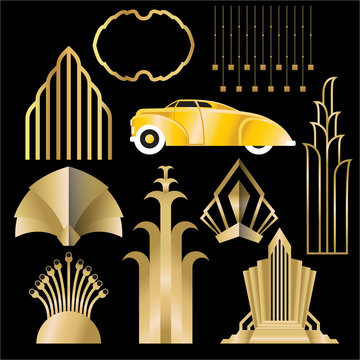 Art deco/Art nuvo diy vector golden black elegant  set of objects for print and web. Creative illustration..