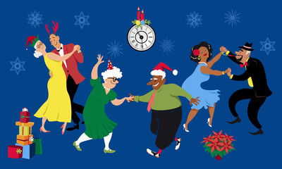 Christmas or New Year party at a retirement community, senior citizens dancing, EPS 8 vector illustration
