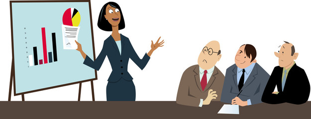 Businesswoman making a presentation to a group of skeptical and non-appreciative male co-workers, EPS 8 vector illustration