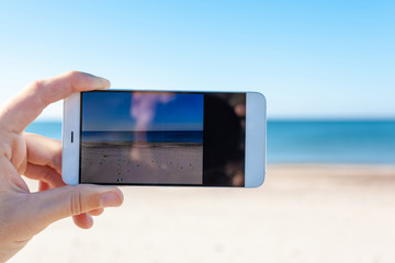 photographing a beautiful landscape on a smartphone