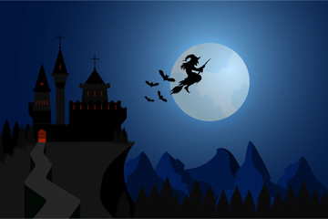 Halloween illustration witch flying under hills , dark castle with bats in full moon nigh.