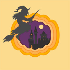 Helloween paper cut vector illustraion with haunted and scary castle full moon helloween with witch ,cartoon style inside pumpkin