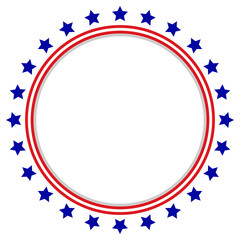 Round Frame American Flag - Stars and Stripes Circle