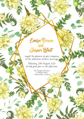 Vector polygonal gold frame with leaves of a forest fern, boxwood, flowers of yellow dahlia and eucalyptus branches on a white background. Suitable for wedding invitations