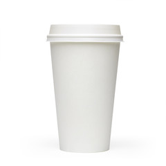 Blank take away coffee cup side view isolated on white background including clipping path