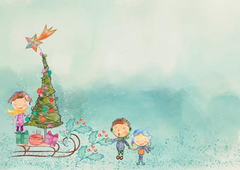 Christmas bacground. Watercolor