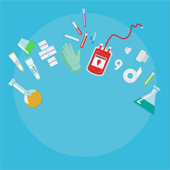 Taking Blood donation kit laboratory equpment on light blue background vector illustration for web and print