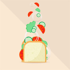 Sandwitch vector illustration vegan components no meat sandwitch for heathcare diet. For web and print