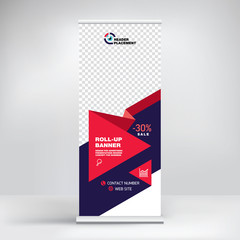 Roll-up banner design, background for placing advertising information. Template for exhibitions, presentations, conferences, seminars, modern abstract style for the promotion of goods and services
