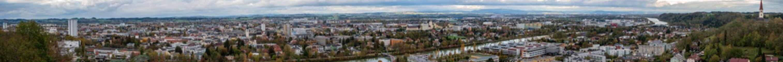 Foto op Canvas Wels Thalheim großes Herbst Panorama mit viel Wolken