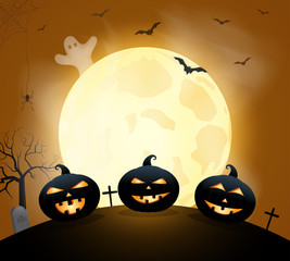 Halloween poster, card or background with pumpkin under the moon. Vector illustration.