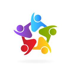 Logo teamwork friendship embraced people