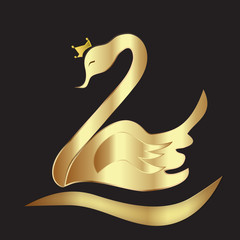 Swan with crown gold vector logo